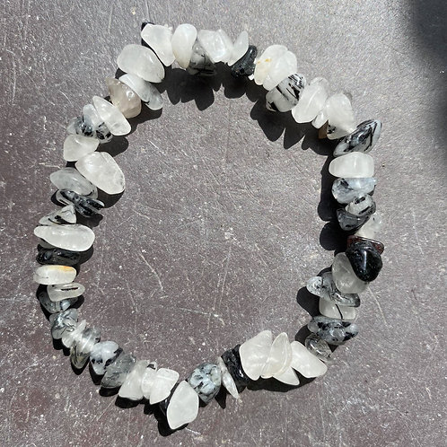 Tourmalinated Quartz Chip Bracelet