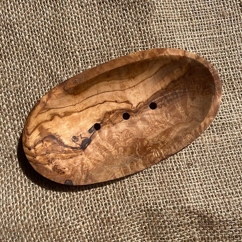 Olive Wood Soap Dish - Oval