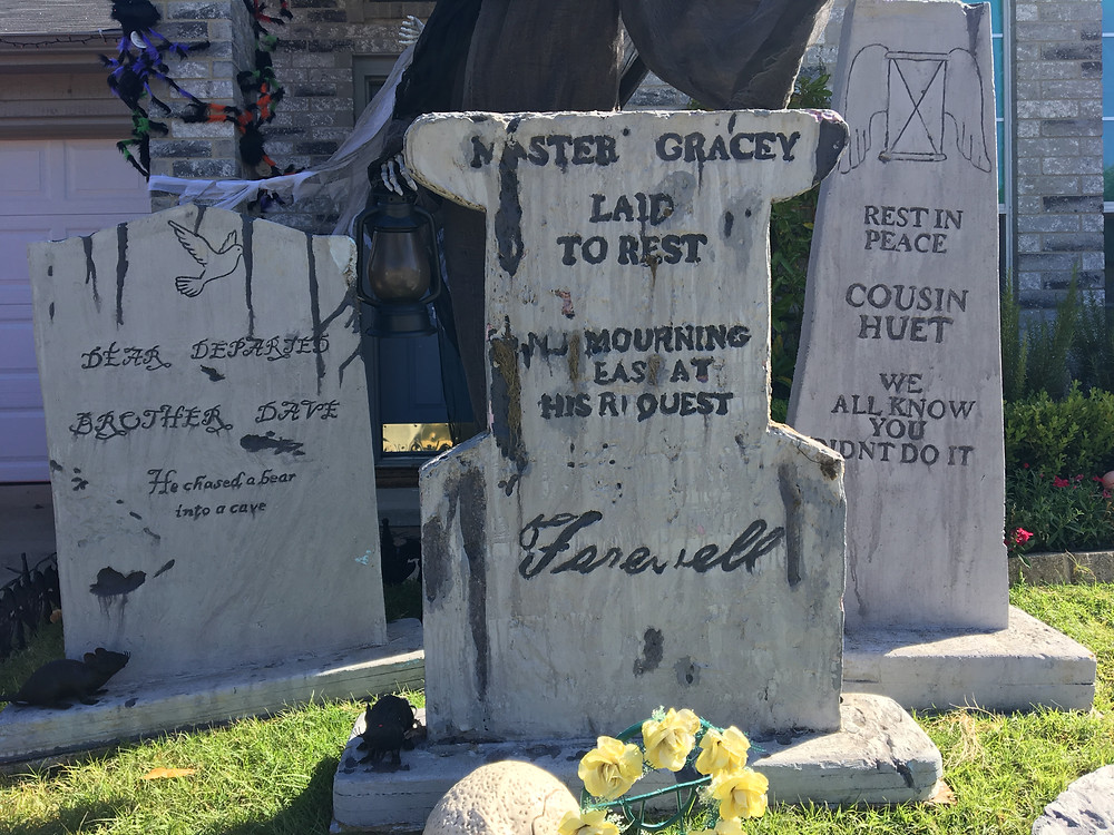 Homemade tombstones for Halloween decoration