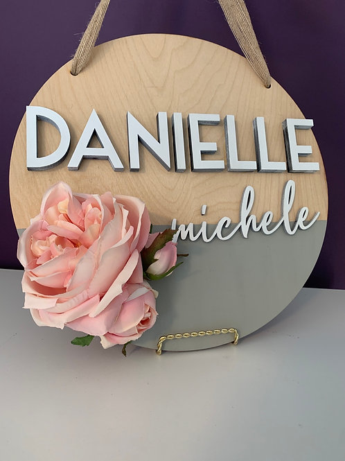 FLORAL First + Middle Name Signs