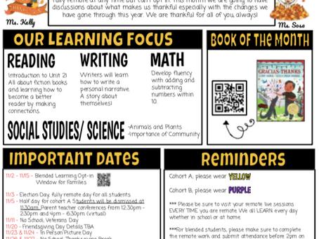 First Grade November Newsletter
