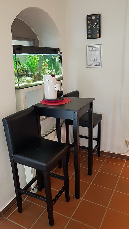 Das ist unser Wartebereich. Wenn Sie mögen, bekommen Sie hier eine oder auch zwei Tassen kostenlosen Kaffee, sollte es noch ein klein wenig dauern, bis ihr Gerät wieder fertig ist. Hier steht auch noch ein großes Aquarium.