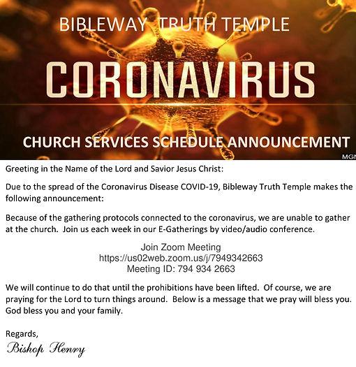 Bibleway Truth Temple - Coronavirus flye