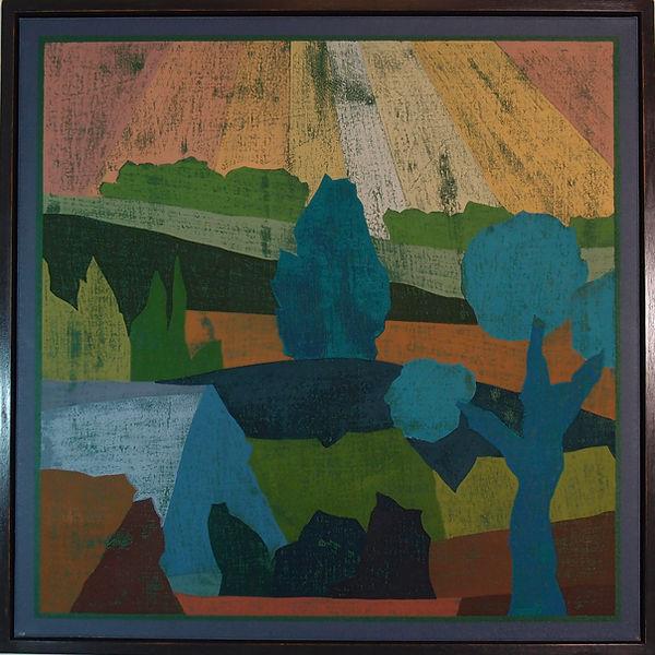 Blue Trees & Sun Rays 64x64cm