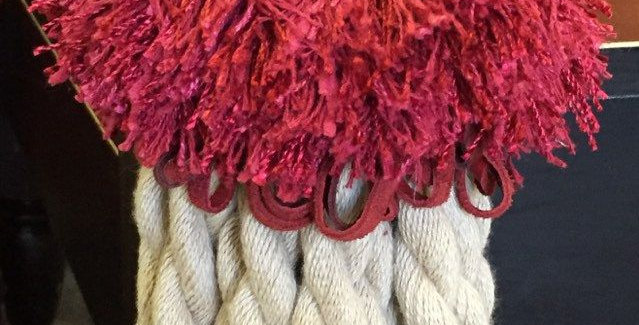 Raspberry Leather Loop Fringe