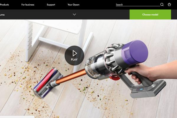 Dyson video for ecommerce web design
