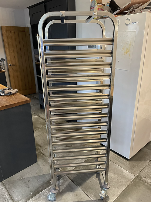 Rack/Tray/Pan Trolley Stainless steel Bakery 600x400mm 15 tier 470x620x1700mm  