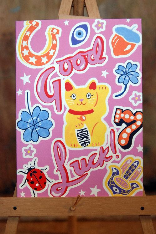 Good Luck Lucky Cat Greetings Card