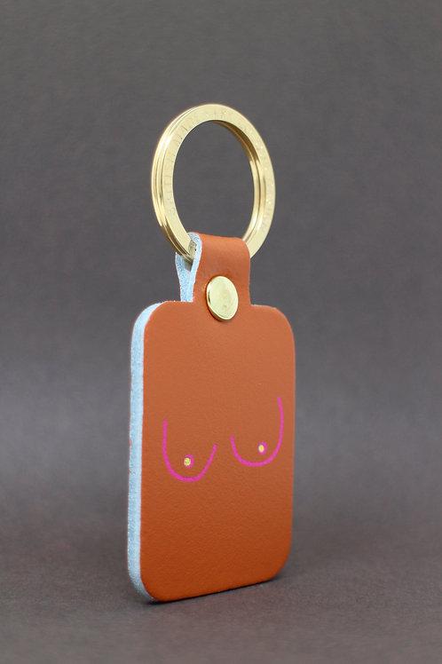 Boobs Key Fob - Burnt Orange