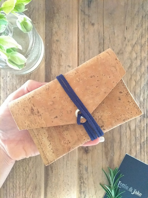 Natural Cork Purse with Navy Faux Suede Tie