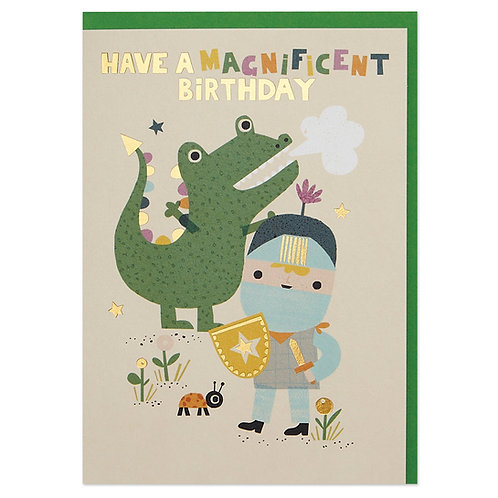 Legendary knight and dragon children's Birthday Card