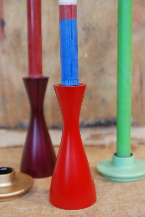 Medium Wooden Oriental Red Candleholder
