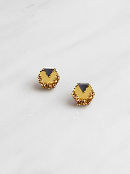 Little Hex Studs in Gold Glitter and Navy