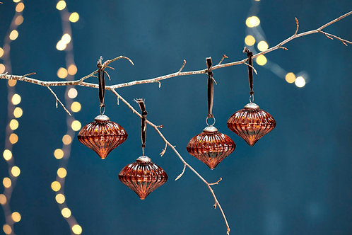 Bouka Glass Baubles - Burnt Amber