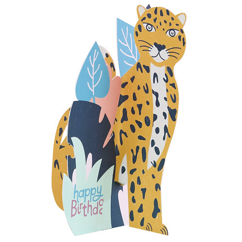 3D fold-out Leopard Birthday Card