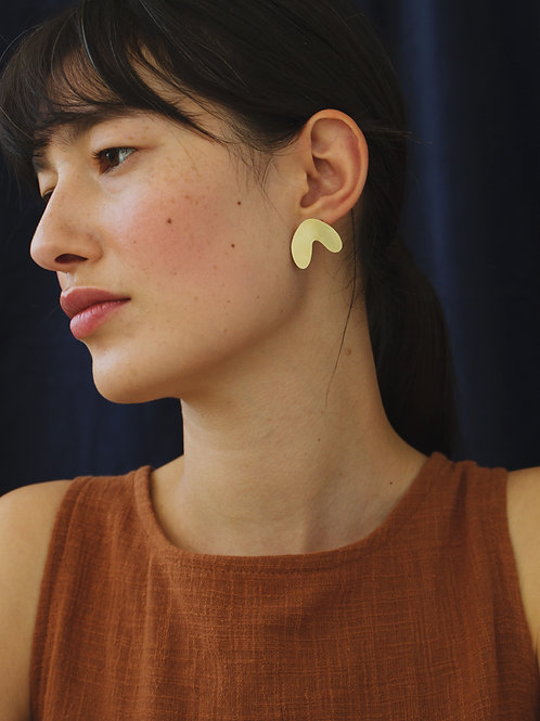 Cassia Studs Brass by Wolf and Moon