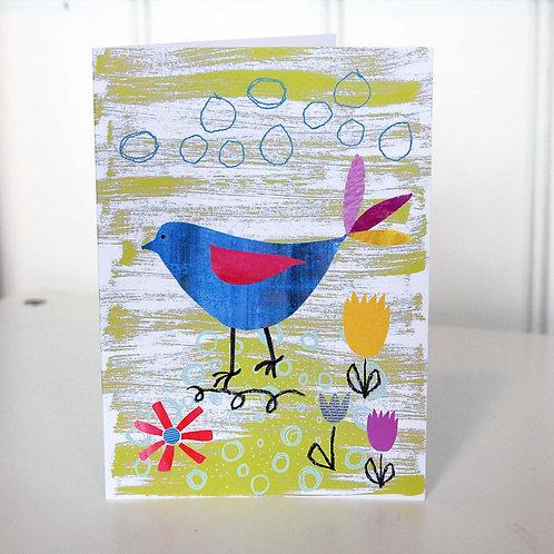 Blue Bird Greetings Card by Grace Rigby