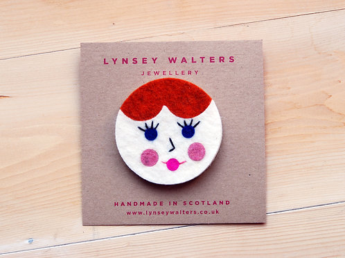 Doll Face Brooch by Lynsey Walters