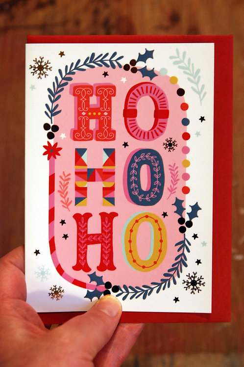 HO HO HO Typography Christmas Card