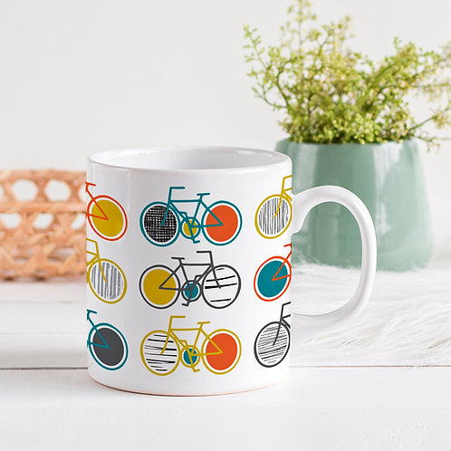 Bone China Mug with Cycle Design