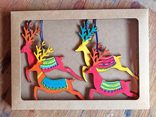 Reindeer Wooden Decorations X Box of Four