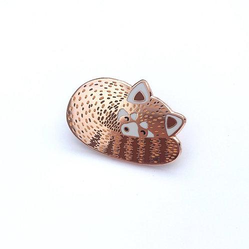 Sleeping Red Panda Enamel Pin