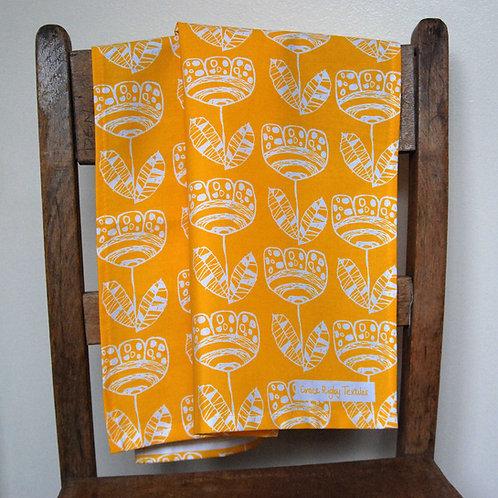 Screen Printed Tea Towel in Bright Sunshiny Yellow.