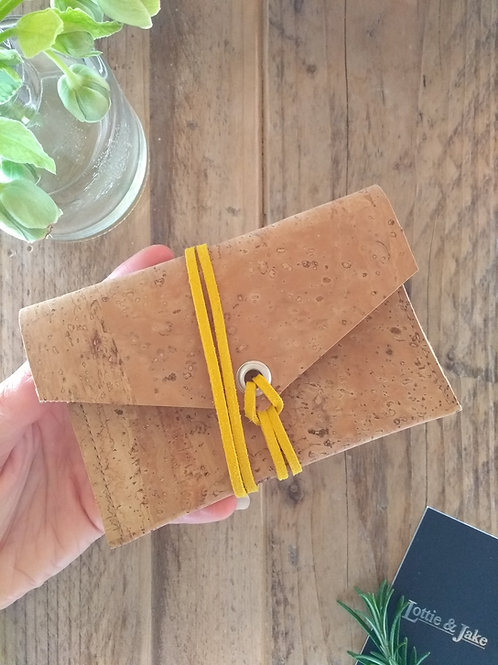 Natural Cork Purse with Mustard Faux Suede Tie
