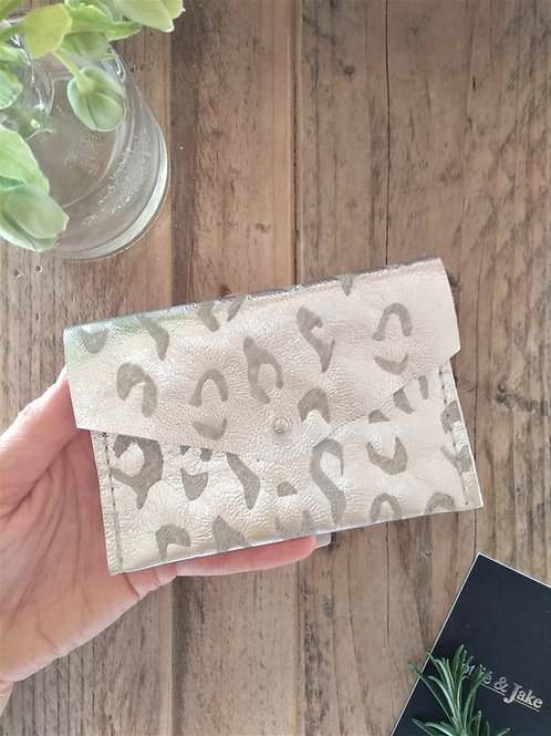Silver Leather Purse with Leopard Print Design and Sam Browne Stud