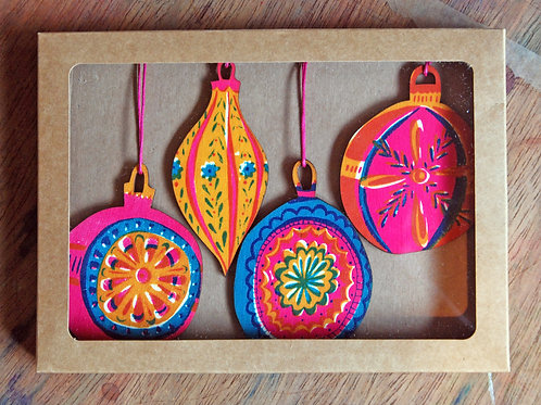 Bauble Wooden Decorations X Box of Four