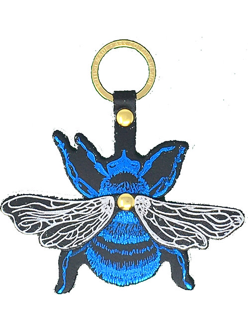 Blue and Silver Bee Key Fob By Ark Colour Design