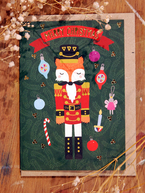Nutcracker Fox Christmas Card