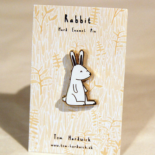 Happy White Rabbit Enamel Pin