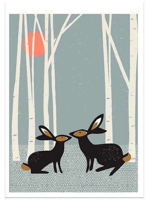 Sunset Hares Art Print by Jenni Douglas