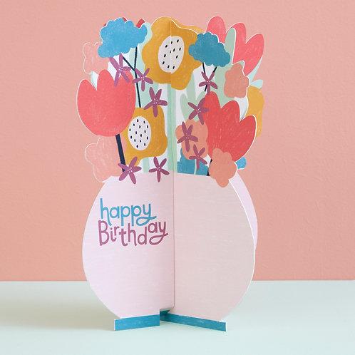 Happy Birthday Card - 3D Vase of Flowers