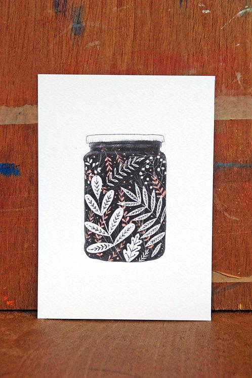 Floral Jam Jar Black and White Illustration