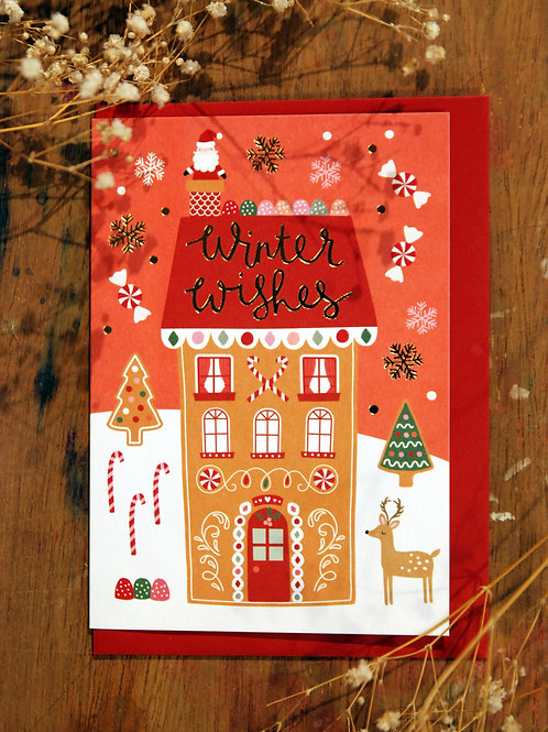 Winter Wishes Gingerbread House card