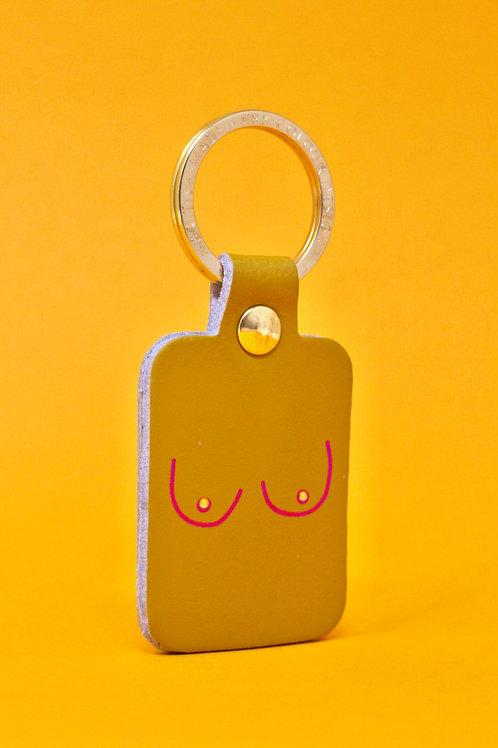 Boobs Key Fob - Ochre