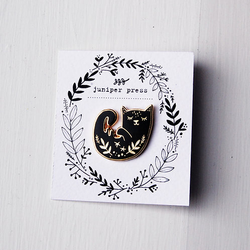 Gold and Black Enamel Cat Pin By Juniper Press