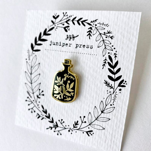 Gold and Black Enamel Gin Pin By Juniper Press