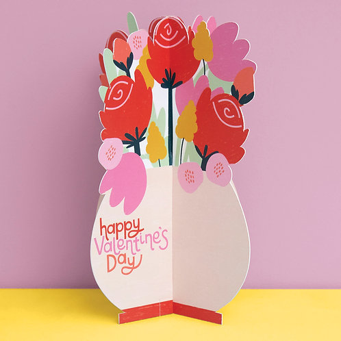 'Happy Valentine's Day' Roses Bouquet 3D fold-out Valentine's Day card