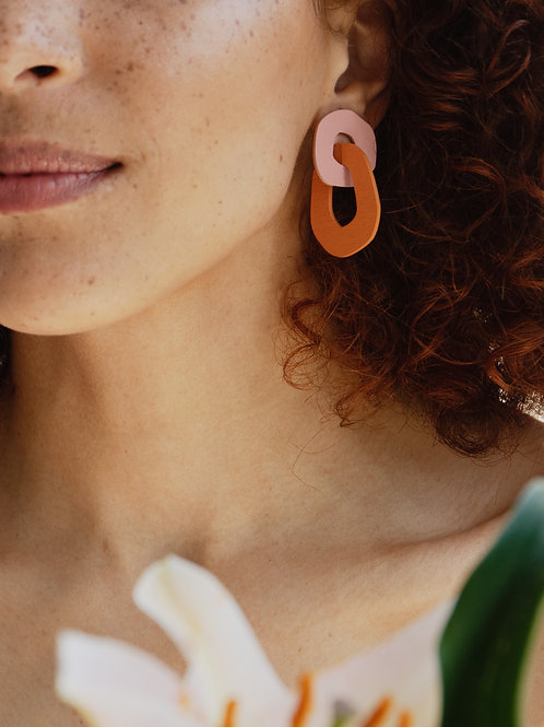 Rosa Earrings in Rose/Orange by Wolf and Moon