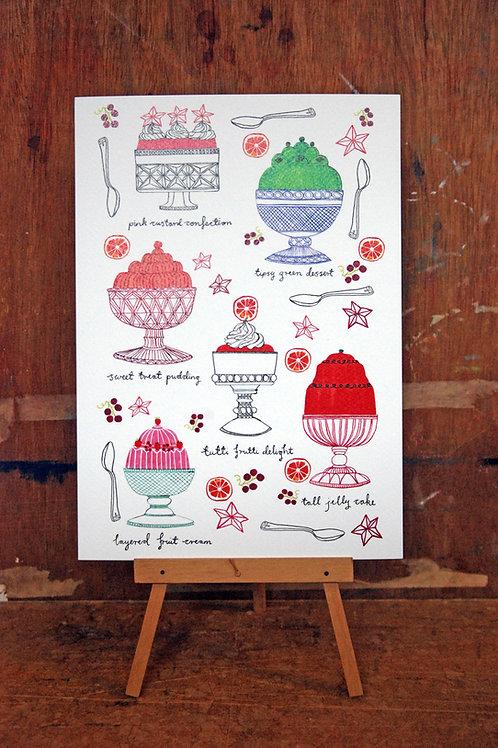 Retro Puddings Art Print