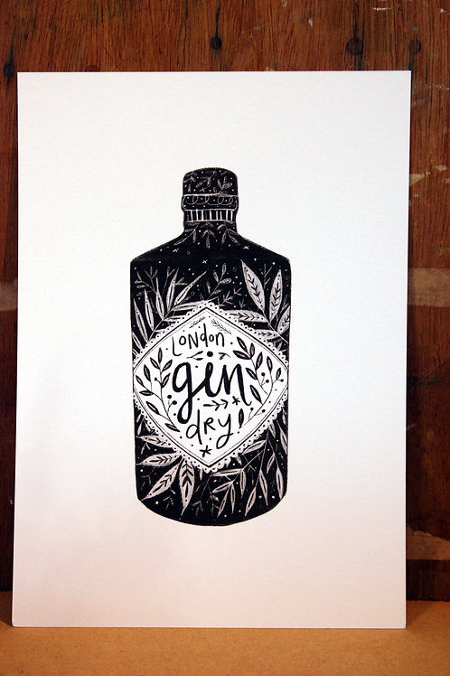 Gin Black and White Print