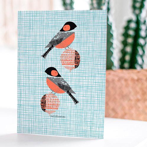 Bullfinches Card by Jenni Douglas