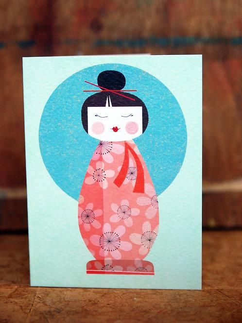 Mini Kokeshi Doll Card