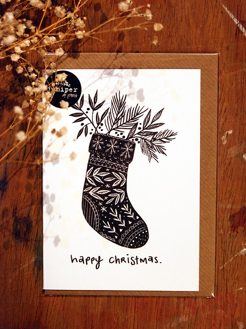 Floral Stocking Christmas Card