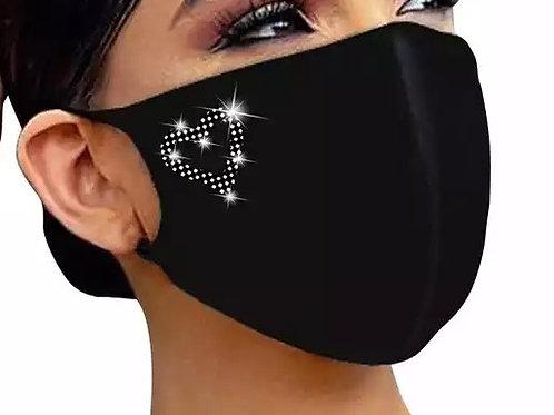 Face Mask Rhinestone Love Heart