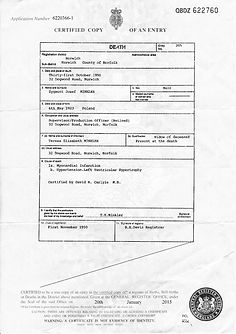 Minkler, Zygmunt Death certificate 31.10