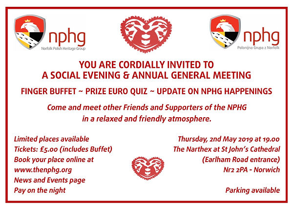 Invite Social Evening and AGM 02.05.2019